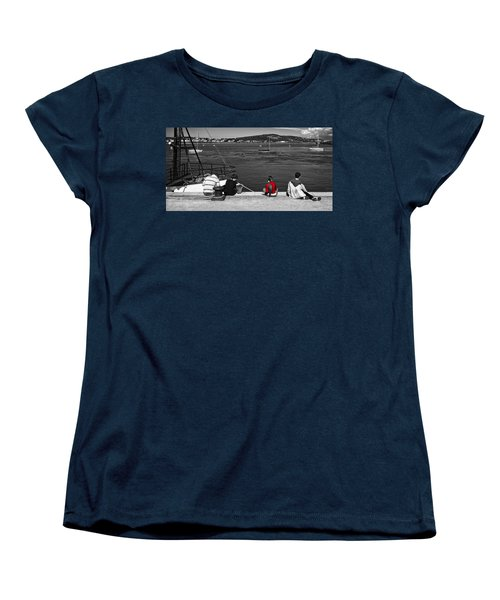 Catching Crabs In Red Women's T-Shirt (Standard Cut) by Meirion Matthias