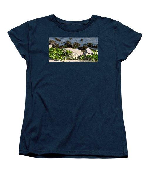 Women's T-Shirt (Standard Cut) featuring the painting Causeway Shore Blues by Ecinja