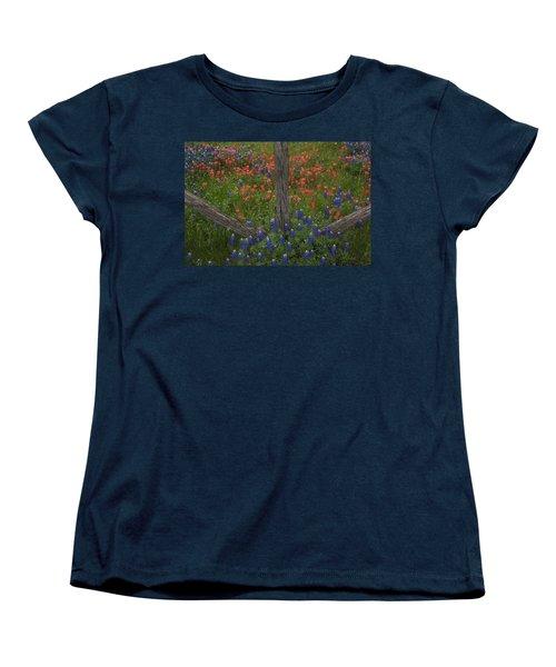 Cedar Fence In Llano Texas Women's T-Shirt (Standard Cut) by Susan Rovira