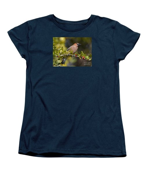 Women's T-Shirt (Standard Cut) featuring the photograph Cedar Waxwing And Red Berries by Kathy Baccari