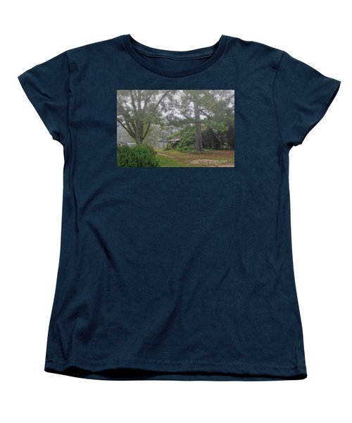 Women's T-Shirt (Standard Cut) featuring the photograph Century-old Shed In The Fog - South Carolina by David Perry Lawrence