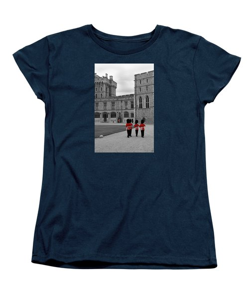 Women's T-Shirt (Standard Cut) featuring the photograph Changing Of The Guard At Windsor Castle by Lisa Knechtel