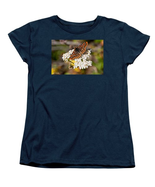 Women's T-Shirt (Standard Cut) featuring the photograph Checkerspot Butterfly On A Yarrow Blossom by Jeff Goulden