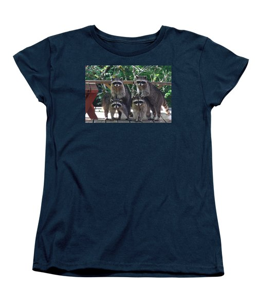 Cheerleading Raccoons Women's T-Shirt (Standard Cut) by Kym Backland