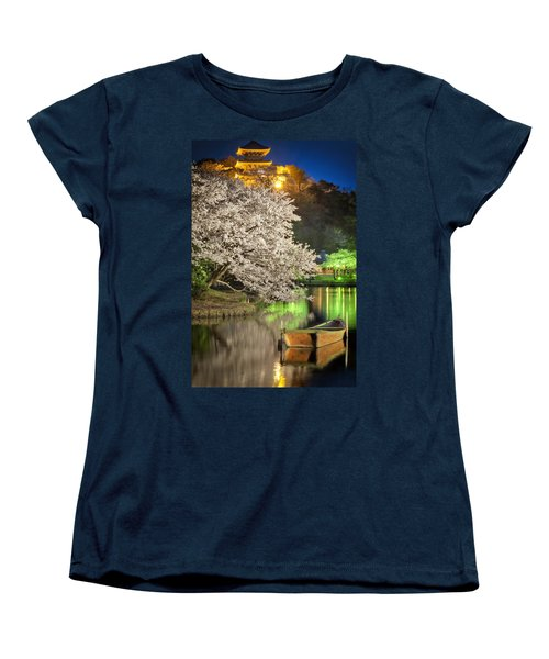 Cherry Blossom Temple Boat Women's T-Shirt (Standard Cut) by John Swartz