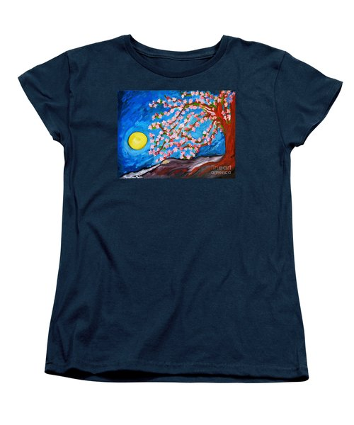 Cherry Tree In Blossom  Women's T-Shirt (Standard Cut) by Ramona Matei