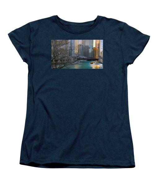 Chicago River Sunset Women's T-Shirt (Standard Cut) by Jeff Kolker