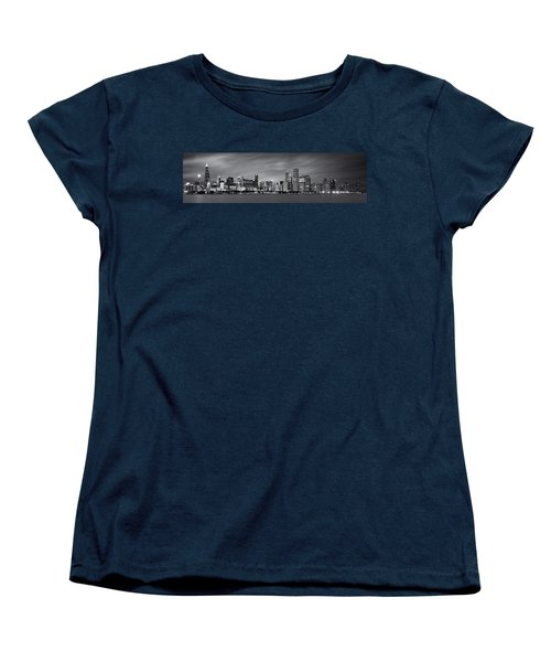 Chicago Skyline At Night Black And White Panoramic Women's T-Shirt (Standard Cut) by Adam Romanowicz