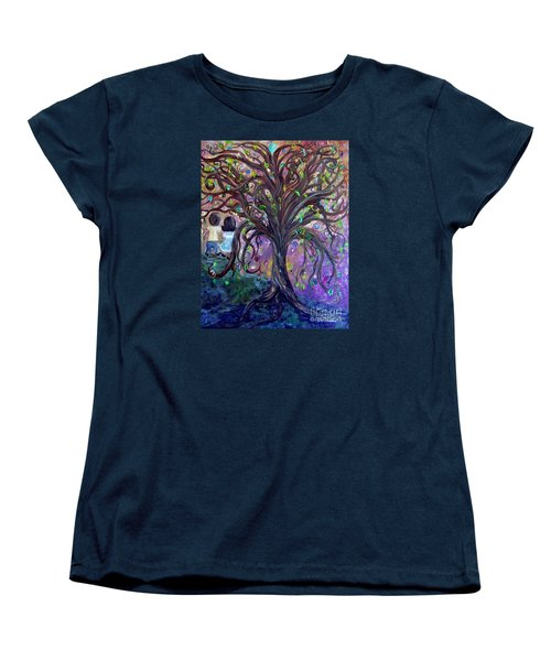 Women's T-Shirt (Standard Cut) featuring the painting Children Under The Fantasy Tree With Jackie Joyner-kersee by Eloise Schneider