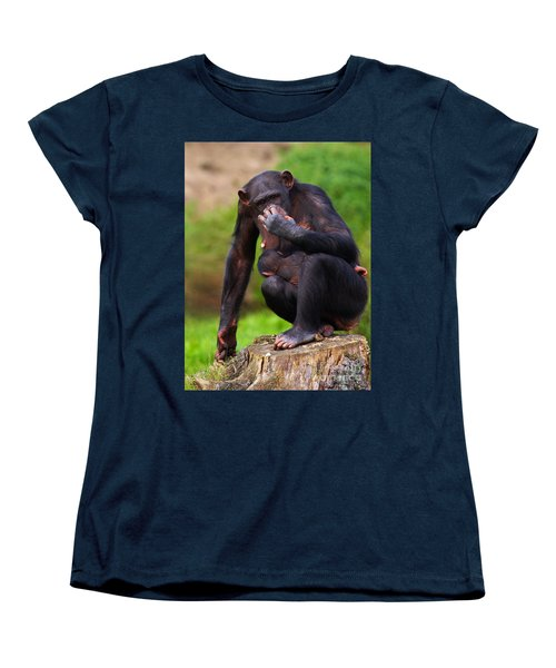 Chimp With A Baby On Her Belly  Women's T-Shirt (Standard Cut) by Nick  Biemans