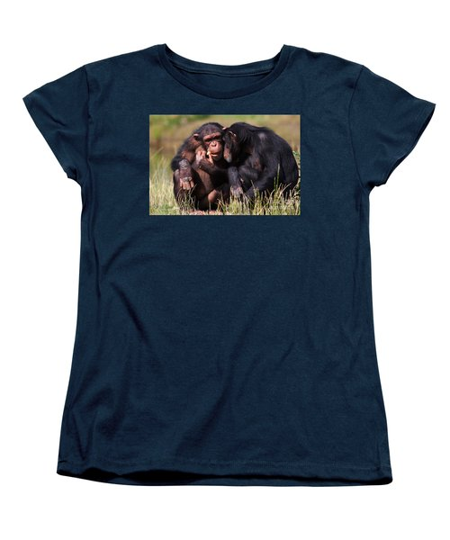 Chimpanzees Eating A Carrot Women's T-Shirt (Standard Cut) by Nick  Biemans