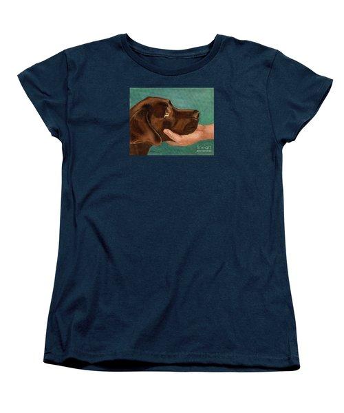 Chocolate Lab Head In Hand Women's T-Shirt (Standard Cut)