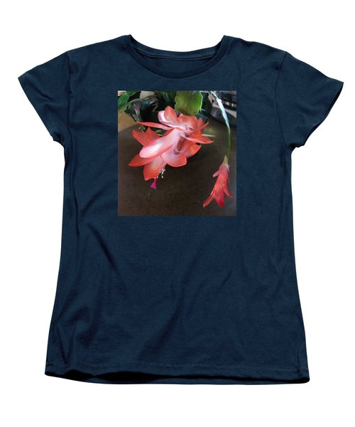Christmas Cactus Bloom Women's T-Shirt (Standard Cut) by Fortunate Findings Shirley Dickerson
