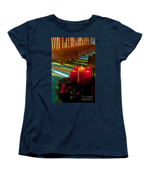Women's T-Shirt (Standard Cut) featuring the photograph Christmas Candles At Church Art Prints by Valerie Garner