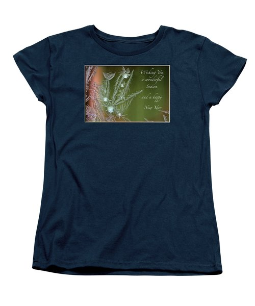 Women's T-Shirt (Standard Cut) featuring the mixed media Christmas Greeting Card Ice Flowers by Peter v Quenter