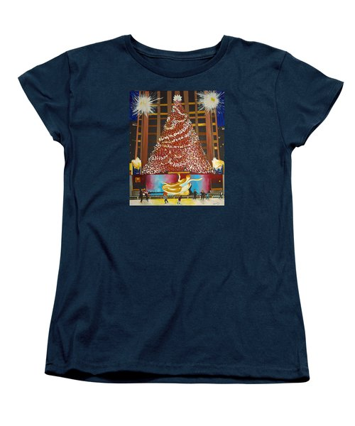 Christmas In The City Women's T-Shirt (Standard Cut) by Donna Blossom