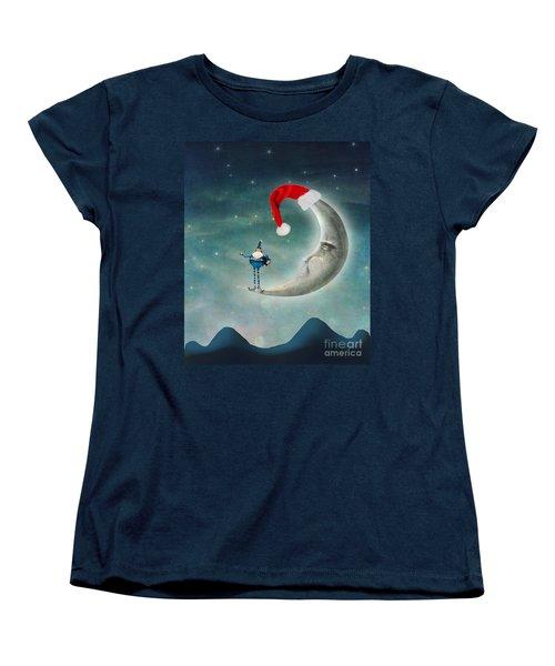Christmas Moon Women's T-Shirt (Standard Cut) by Juli Scalzi