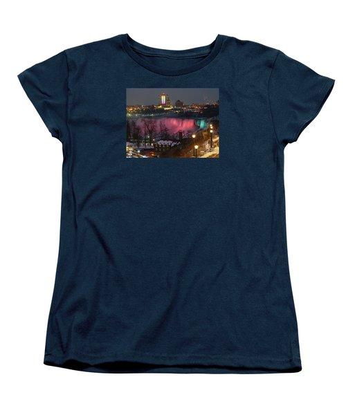 Women's T-Shirt (Standard Cut) featuring the photograph Christmas Spirit At Niagara Falls by Lingfai Leung