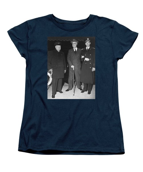 Churchill And Roosevelt Women's T-Shirt (Standard Cut) by Underwood Archives