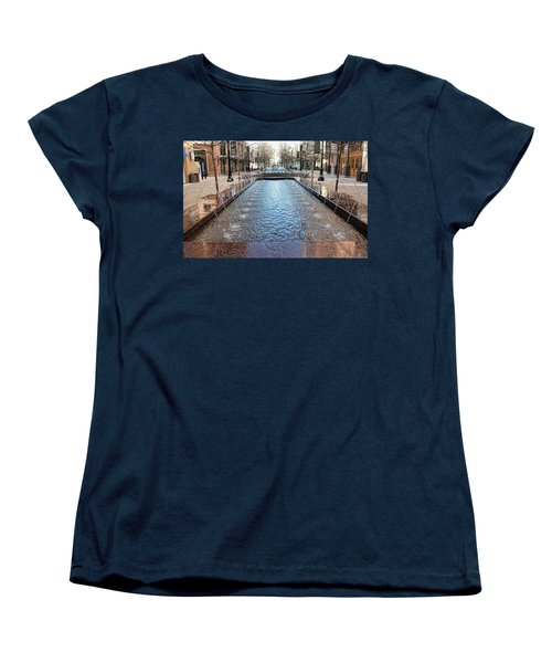 Women's T-Shirt (Standard Cut) featuring the photograph City Creek Fountain - 1 by Ely Arsha