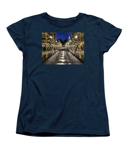 Women's T-Shirt (Standard Cut) featuring the photograph City Creek Fountain - 2 by Ely Arsha