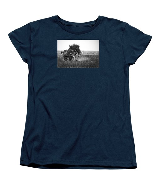 Women's T-Shirt (Standard Cut) featuring the photograph Clash Of Two Wild Stallions by Bob Decker