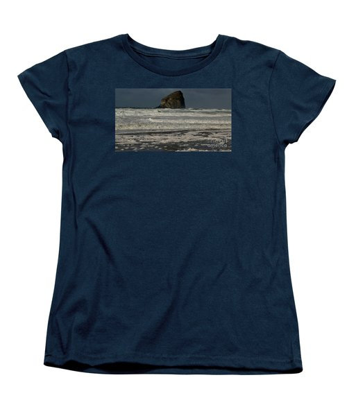Women's T-Shirt (Standard Cut) featuring the photograph Close Haystack Rock by Susan Garren