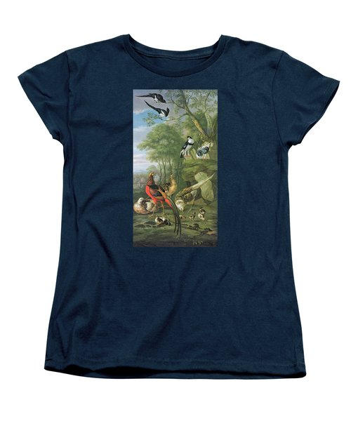 Cock Pheasant Hen Pheasant And Chicks And Other Birds In A Classical Landscape Women's T-Shirt (Standard Cut) by Pieter Casteels