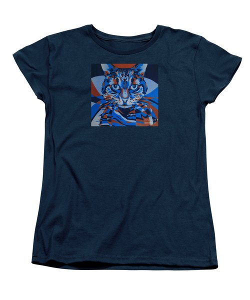 Women's T-Shirt (Standard Cut) featuring the painting Color Cat IIi by Pamela Clements