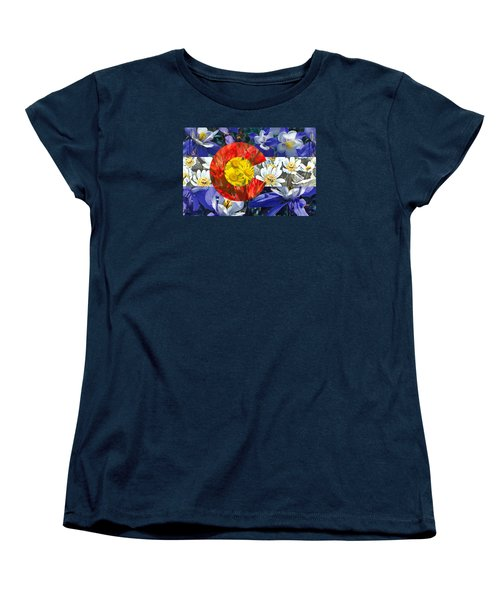 Women's T-Shirt (Standard Cut) featuring the photograph Colorado State Flag With Wildflower Textures by Aaron Spong