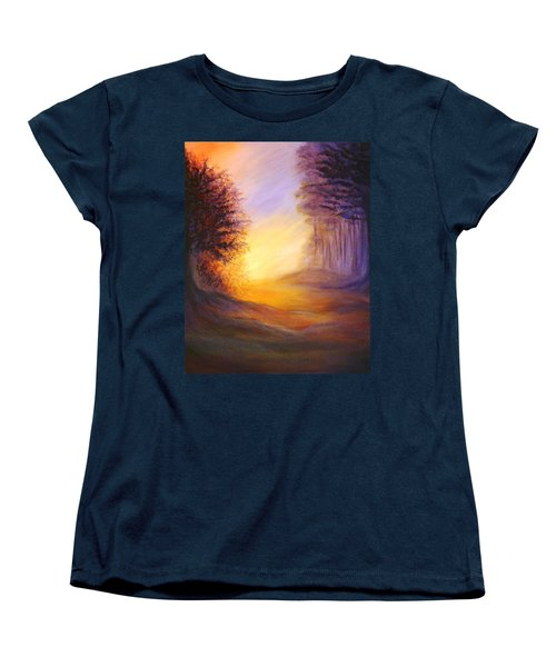Women's T-Shirt (Standard Cut) featuring the painting Colors Of The Morning Light by Lilia D