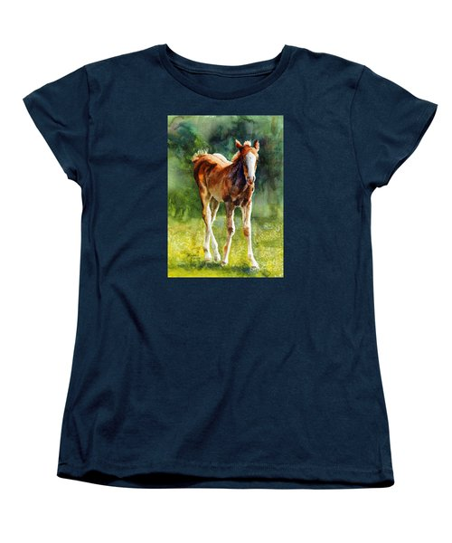 Colt In Green Pastures Women's T-Shirt (Standard Cut) by Bonnie Rinier