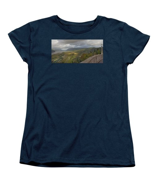 Women's T-Shirt (Standard Cut) featuring the photograph Columbia River Gorge View From Crown Point by JPLDesigns