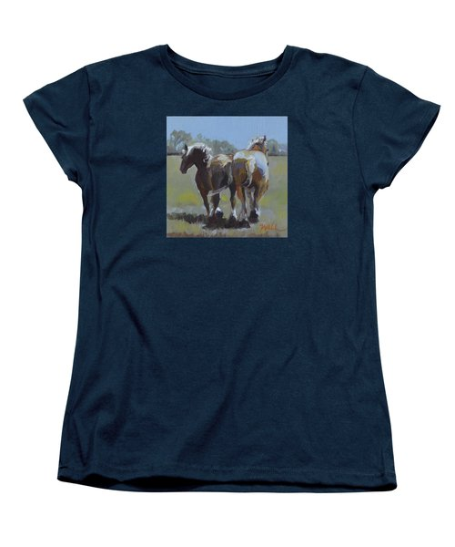 Women's T-Shirt (Standard Cut) featuring the painting Come Back Max And Major by Pattie Wall