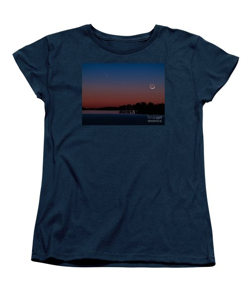Comet Panstarrs And Crescent Moon Women's T-Shirt (Standard Cut) by Charles Hite