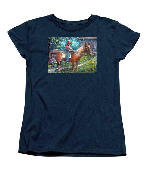 Women's T-Shirt (Standard Cut) featuring the painting Cool Grandpa by Bernadette Krupa