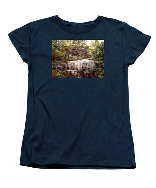 Women's T-Shirt (Standard Cut) featuring the painting Cool Waterfall by Dorothy Maier