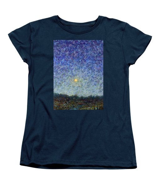 Women's T-Shirt (Standard Cut) featuring the painting Cornbread Moon by James W Johnson