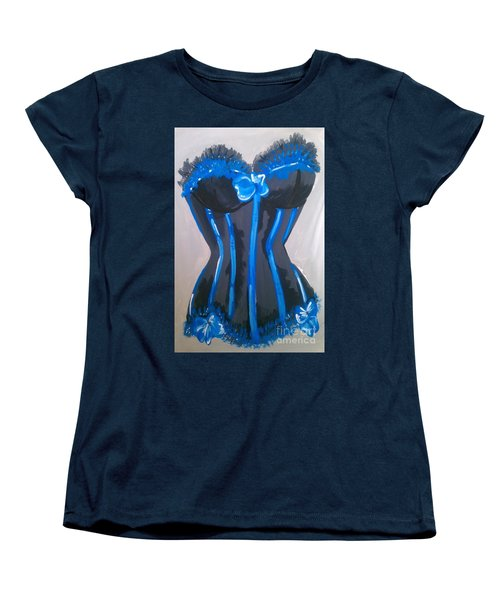 Women's T-Shirt (Standard Cut) featuring the painting Corset Blue Lace by Marisela Mungia