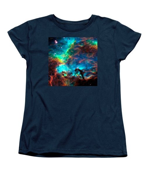 Cosmic Cradle 2 Star Cluster Ngc 2074 Women's T-Shirt (Standard Cut) by Jennifer Rondinelli Reilly - Fine Art Photography