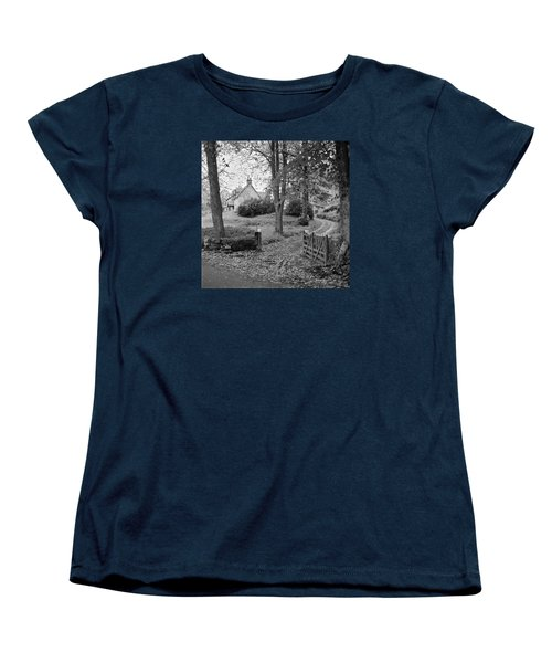 Women's T-Shirt (Standard Cut) featuring the photograph Cottage On Loch Ness - Scotland 1972 - Travel Photography By David Perry Lawrence by David Perry Lawrence