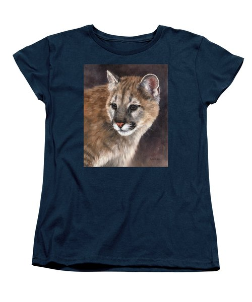 Cougar Cub Painting Women's T-Shirt (Standard Cut) by Rachel Stribbling
