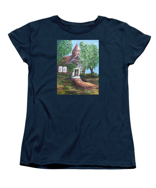 Women's T-Shirt (Standard Cut) featuring the painting Country Church by Eloise Schneider