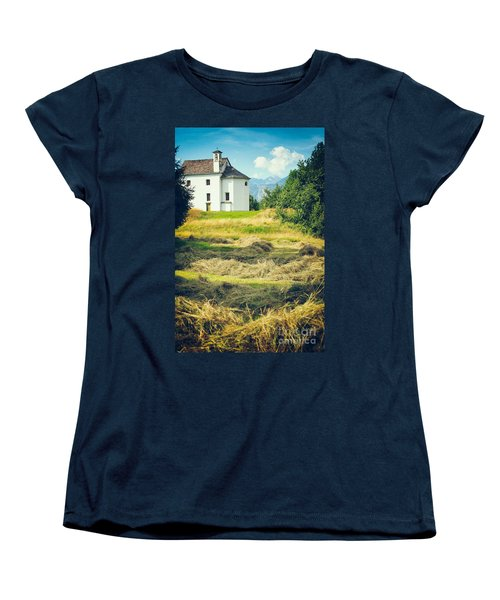 Women's T-Shirt (Standard Cut) featuring the photograph Country Church With Hay by Silvia Ganora
