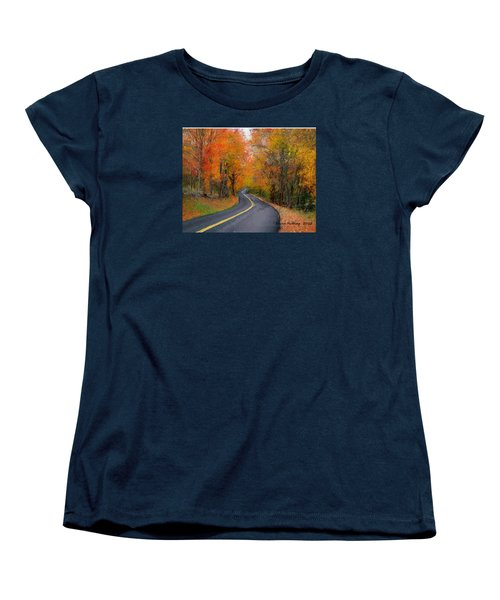 Women's T-Shirt (Standard Cut) featuring the painting Country Road In Autumn by Bruce Nutting