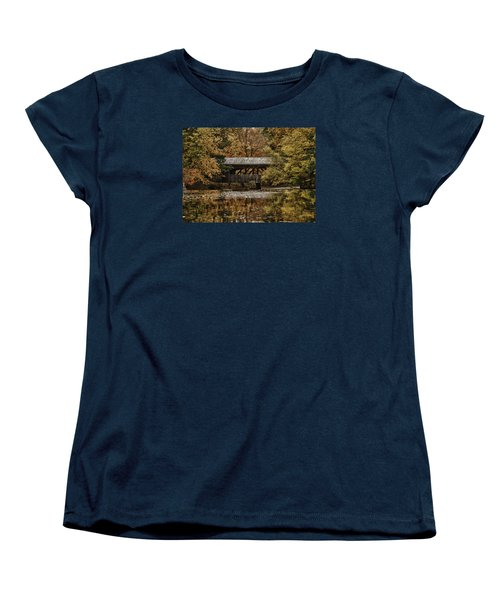 Women's T-Shirt (Standard Cut) featuring the photograph Covered Bridge At Sturbridge Village by Jeff Folger