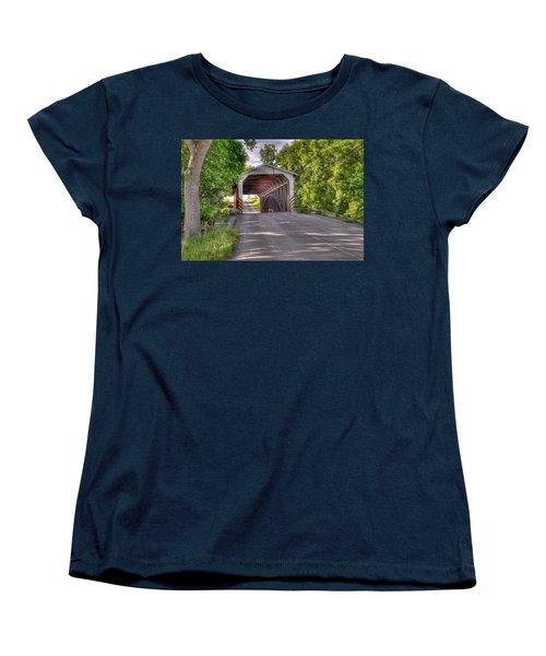 Women's T-Shirt (Standard Cut) featuring the photograph Covered Bridge by Jim Thompson