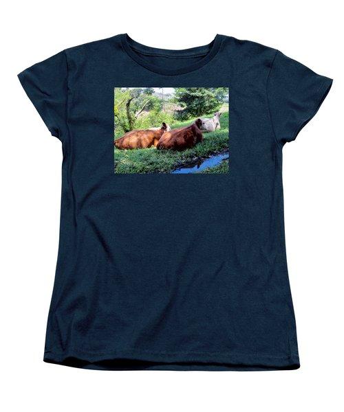 Women's T-Shirt (Standard Cut) featuring the photograph Cow 6 by Dawn Eshelman