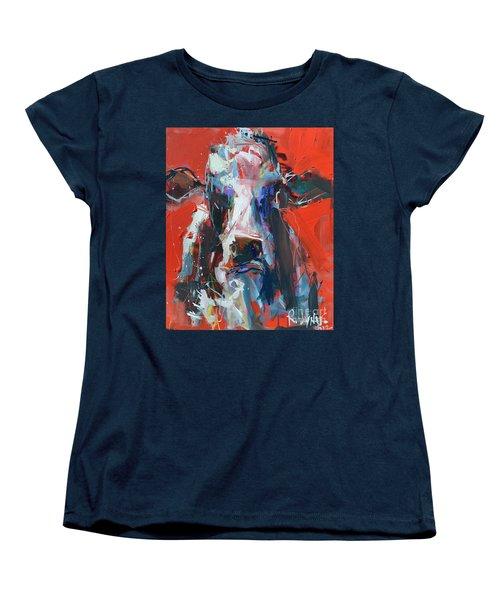 Cow On Red Women's T-Shirt (Standard Cut) by Robert Joyner