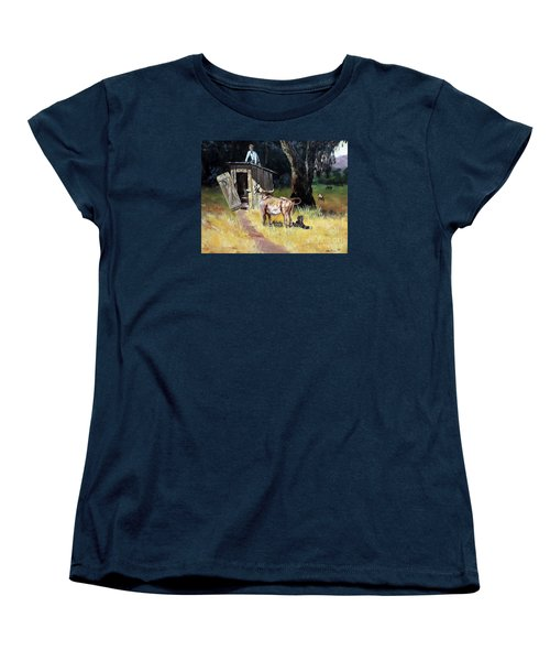 Cowboy On The Outhouse  Women's T-Shirt (Standard Cut) by Lee Piper